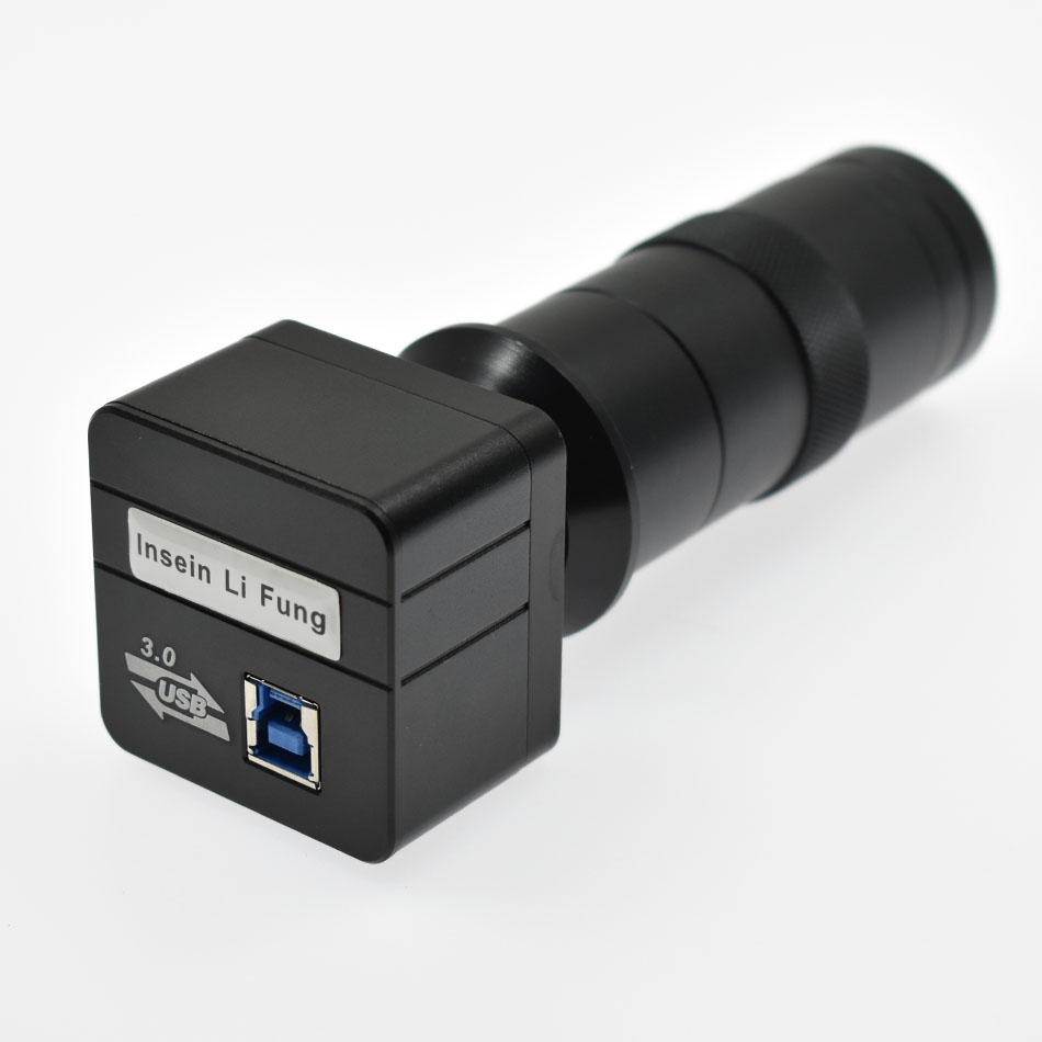 5.0MP USB 3.0 Free Drive Microscope USB Video Measurement Camera+130X 180X Adjustable Magnification 25mm Zoom C-mount Lens