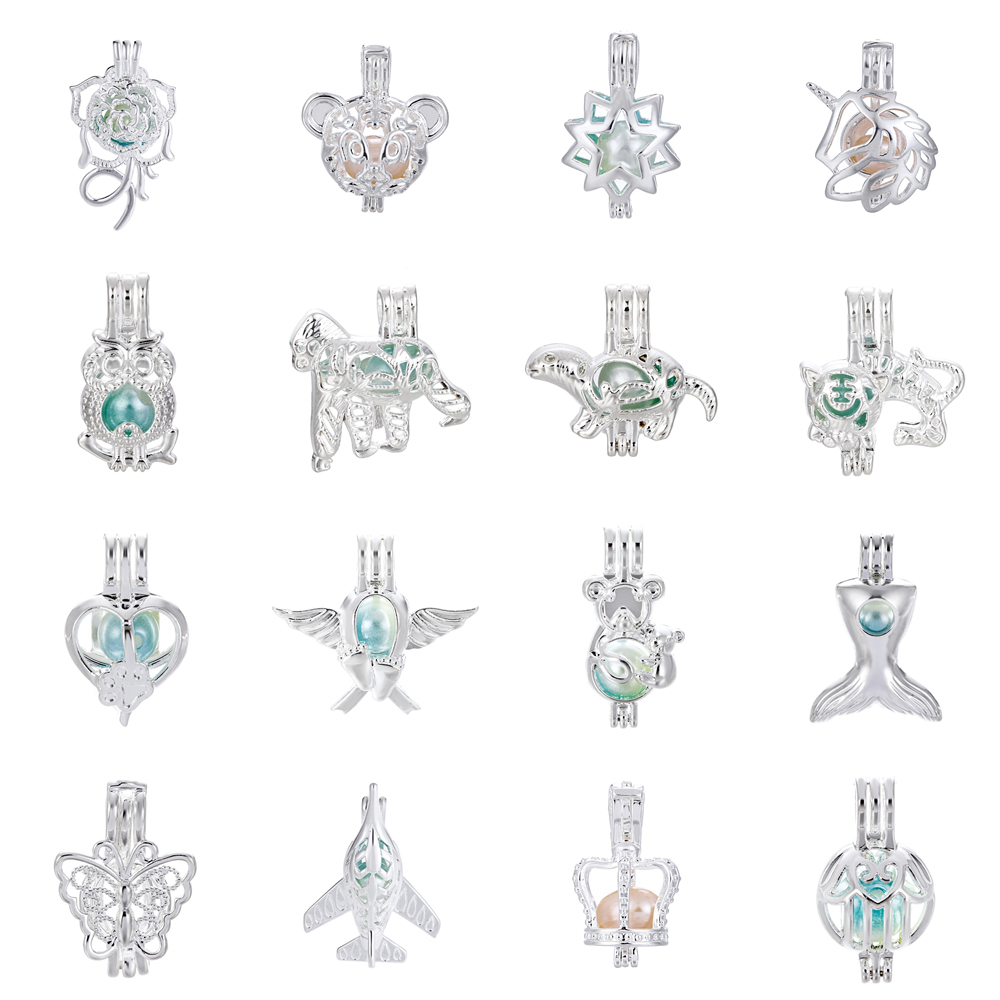 Wholesale 10pcs Pigeon Pearl Cage Locket Pendant Essential Oil Diffuser Charms