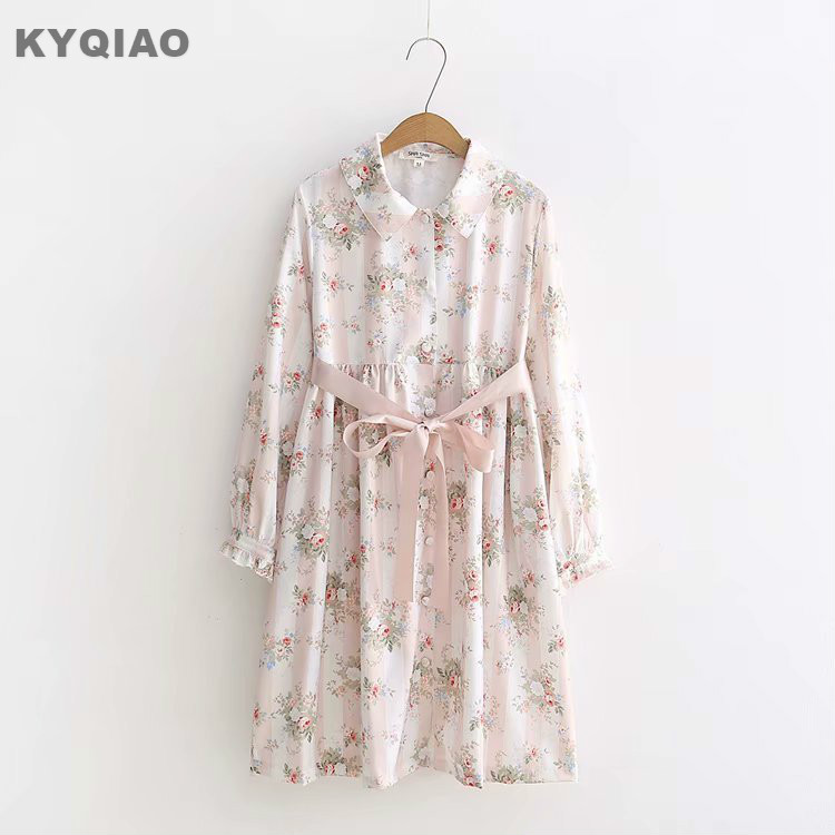 KYQIAO Lolita dress mori girls autumn winter Japan style vintage sweet long sleeve turn down collar bowknot print dress vestidos