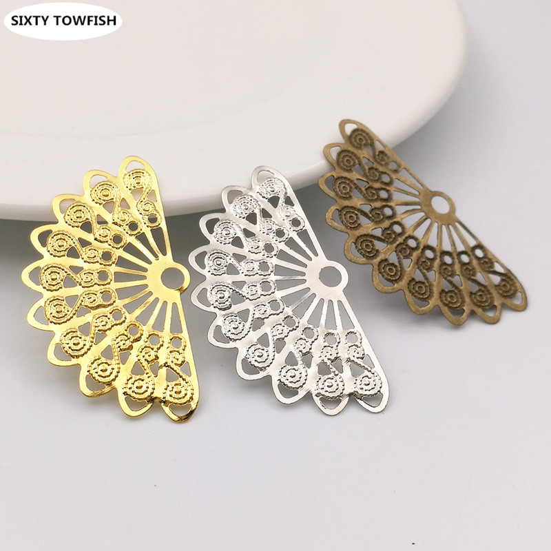 30 pcs/lot 21mmx37mm Gold color/Antique bronze/White K Metal Fan-shaped Flowers Slice Charms base Setting Jewelry DIY Components