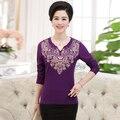 Новый 2016 среднего возраста женщины летом с коротким рукавом Футболки мать clothing мода женский топ плюс размер основной рубашка свободно пуловер