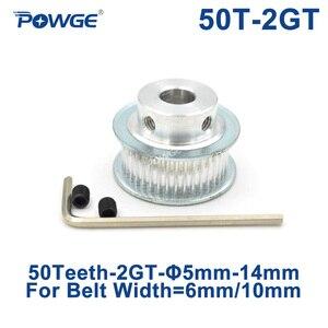Зубчатый шкив POWGE GT 50 2M 2GT, диаметр отверстия 5/6/6.35/7/8/10/12/14 мм для GT2, открытая синхронная Ширина ремня 6/10 мм, колесо 50 зубьев 50 T