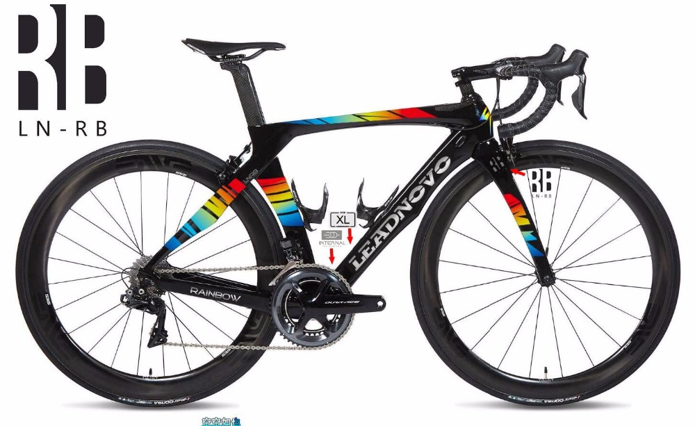 Newly rainbow 3k carbon road bike frame Di2&Mechanical R1000 racing bicycle frameset headset accept customized painted BSA BB30