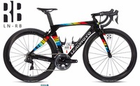 Newly rainbow 3k carbon road bike frame Di2&Mechanical THE ONE racing bicycle frameset headset accept customized painted