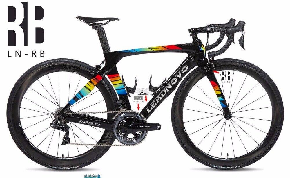Recentemente arcobaleno 3 k della strada del carbonio telaio della bici Di2 & Meccanico R1000 bicicletta da corsa frameset auricolare accetti su misura dipinto BSA BB30