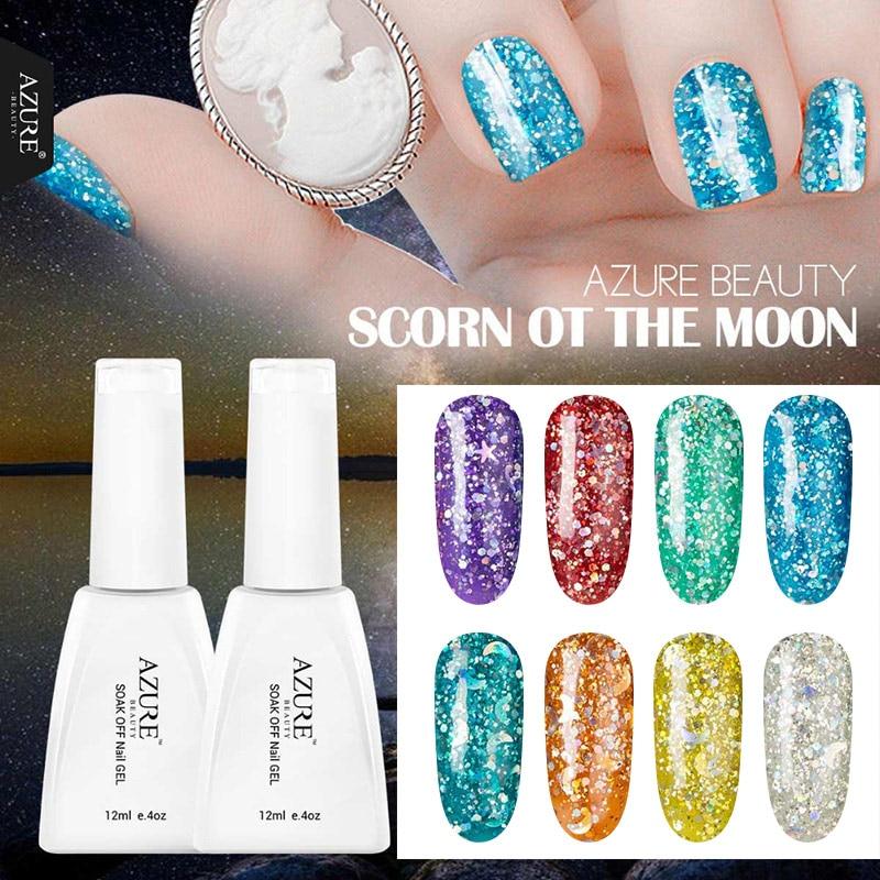 Azure Beauty 12ml UV Nail Gel Polish Long Lasting Soak-off Shiny Nail Polish Lacquer Need UV Gel Base And Top Coat Gelpolish mild s peelable nail polish 12ml blue
