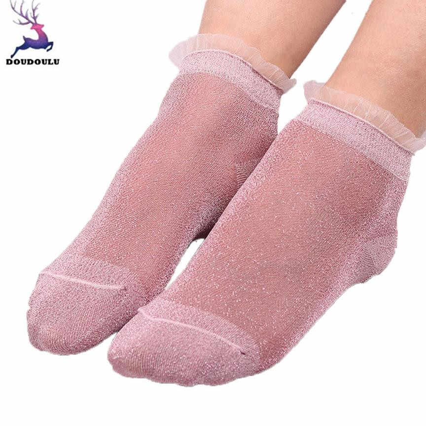 c9f6d273bc9 Detail Feedback Questions about DOUDOULU Ruffle woman silver glitter socks  women Transparent Thin Summer Ankle Socks Creative Sock calcetines mujer ...