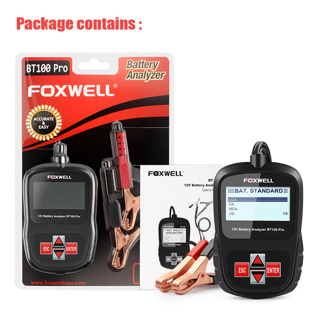 FOXWELL BT100 PRO 6V 12V Car Battery Tester For Flooded AGM GEL 100 to 1100CCA 200AH Test Automotive Analyzer Diagnostic Tool