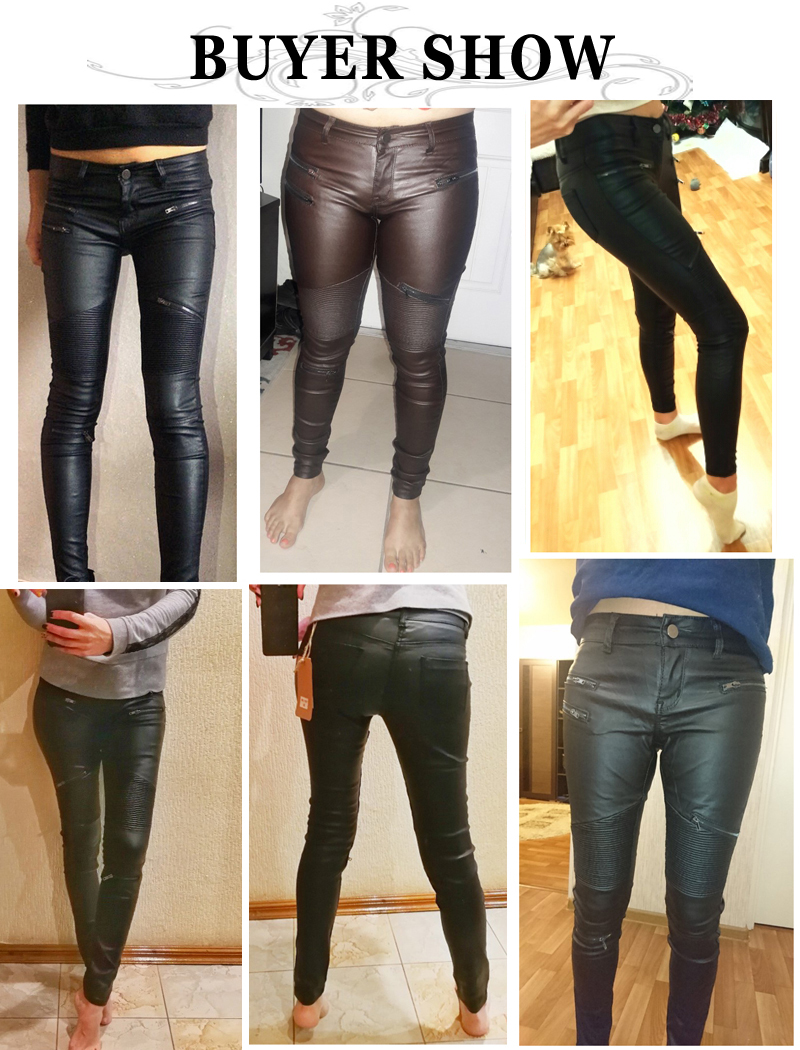 19 Winter Plus Size Stretch PU Leather Pants For Women High Waist Joggers Womens Trousers Pencil Skinny Waisted Female Pants 8