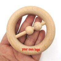 80 мм натуральный индивидуальный логотип DIY Натуральный Бук кольцо прорезывания зубов игрушка круглый Бук деревянные детские Прорезыватели