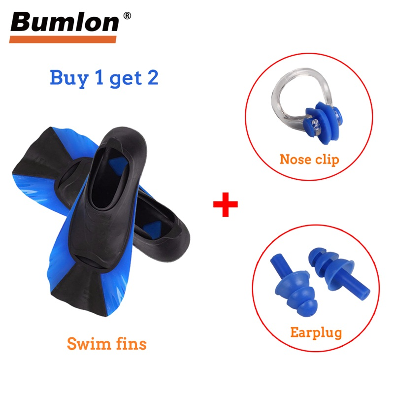 Swimming Fins Adult Kid Snorkeling Flipper Diving Fins with Nose Clip and Earplug Equipment Portable Short Frog Shoes 15-0027