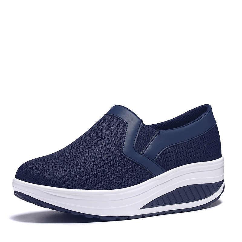 HUANQIU nuevas Primavera para de transpirables planos mujer zapatos mujer gruesos zapatos plataforma Carrefour verano zapatillas malla de de de 2018 DeE29YIbWH