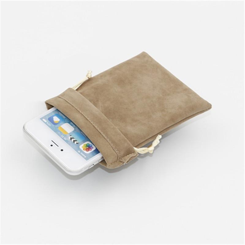 20pcs/lot 9*18cm Double Side Velvet Storage Packing Bag Custom Logo Print  Pouch Wholesale Drawstring Bags For Jewelry