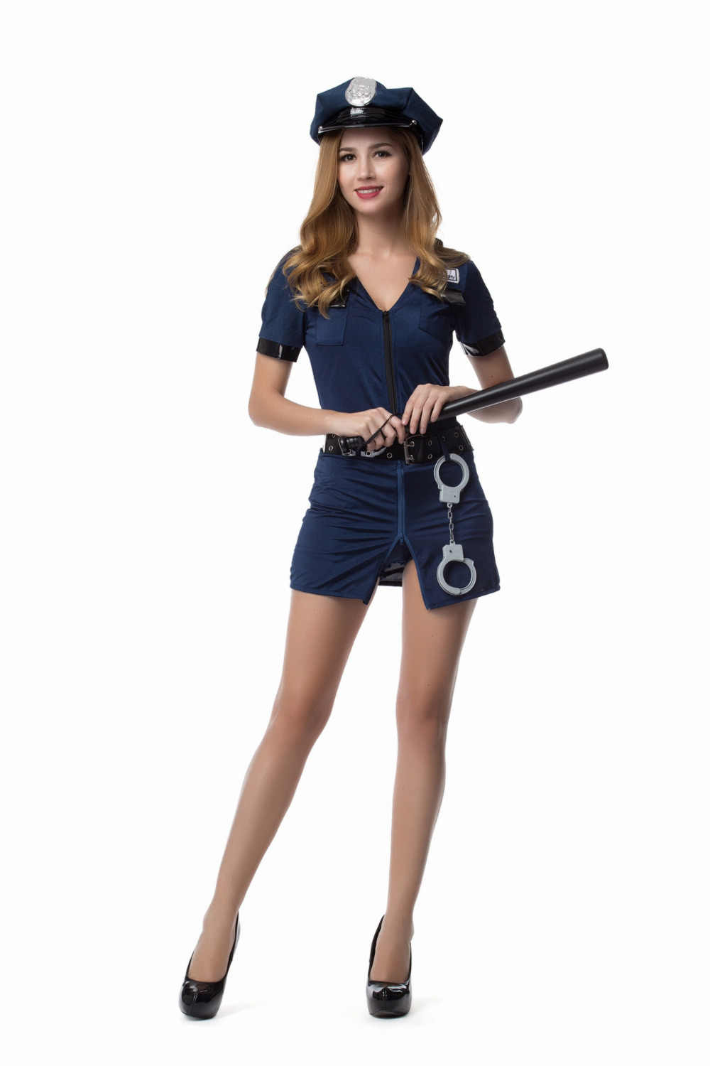 ... M-XXL Adult Womens Sexy Blue Halloween Party Police Uniform Cosplay  Policewoman Costumes Outfit Plus ... ae54ee419d0e