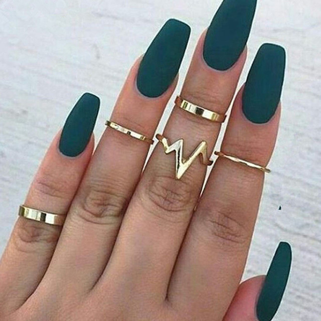 Gorgeous Women's Ring New Lightning ECG Women's Ring Set Alloy Smooth Ring Set of 5 Beautiful Jewelries Aneis Rings Ornaments