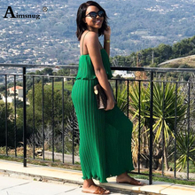 цены Aimsnug women chiffon green pleated jumpsuits elastic waist ruffles sleeveless backless rompers female solid chic playsuits