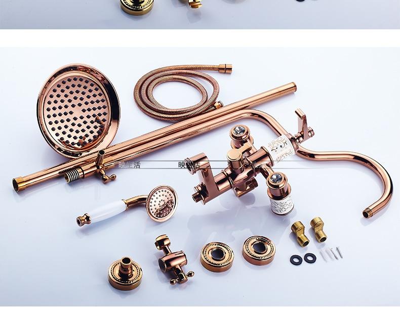 "HTB1PLq5hiqAXuNjy1Xdq6yYcVXaM Luxury Rose Golden Bathroom Shower Faucet Wall Mounted 8"" Rain Showerhead Coming With Hand Spray Round Bar Mixer Shower Set"