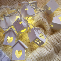 Cute Wooden House Loving Heart Lights 10 LED Wood Mini Houses For Christmas Party Wedding Home