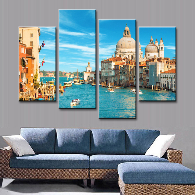 4 Pcs/Set Classic Modern The City of Venice Wall Painting Combined ...
