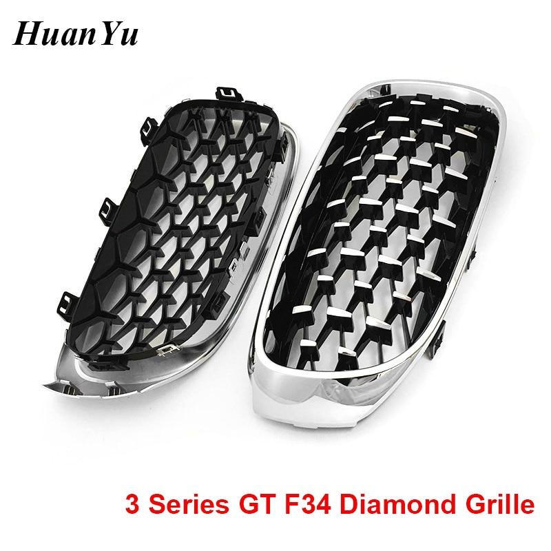Free Ship 1Pair F34 Diamond Grille for BMW 3 Series GT Gran Turismo 320i 328i 330i 335i 340i 325d Chrome Gloss Black Car Styling