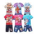 2017 meninos roupas de verão; roupa das meninas definir; short + camisa de manga curta T roupa dos miúdos; terno do esporte; crianças roupas para meninas