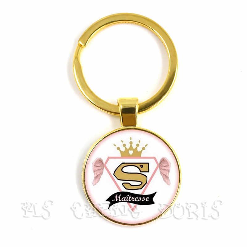 แฟชั่น I Am นายหญิง Who Dechire Key Chain เครื่องประดับ Merci Maitresse แก้ว Cabochon Super Maitresse พวงกุญแจที่ดีที่สุดของขวัญ