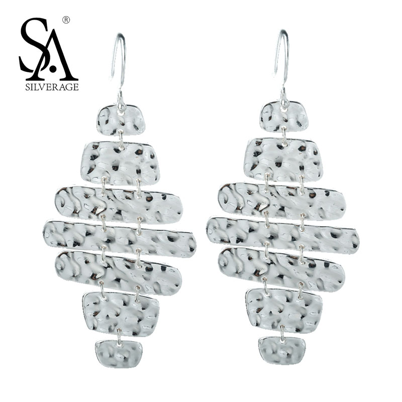 SA SILVERAGE Drop Earrings 925 Silver Earrings for Women Fashion Long Dangle Geometry Brincos Statement Wedding Fine Jewelry high luminous lampada 4300 lm 50w e40 led bulb light 165 leds 5730 smd corn lamp ac110 220v warm white cold white free shipping page 3