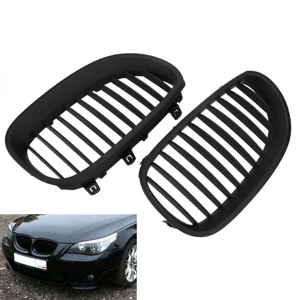 1 Pair Front Black Sport Wide Kidney Grilles Grill For E60 <font><b>E61</b></font> M5 5 Series 2003-2009 image