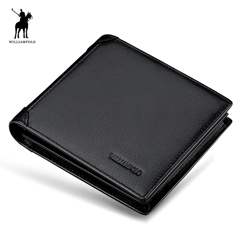 WILLIAMPOLO 2018 Genuine Leather Europen and American Style 3 Bifold Small Wallet Mens Wallets Luxury With Gift Box POLO217