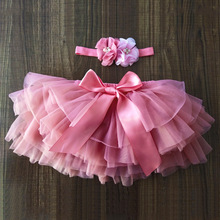 Baby Girls Bloomers Infant Newborn Diapers Cover 2pcs Short Tutu Skirts+Headband Set Girls Skirts Rainbow Skirts