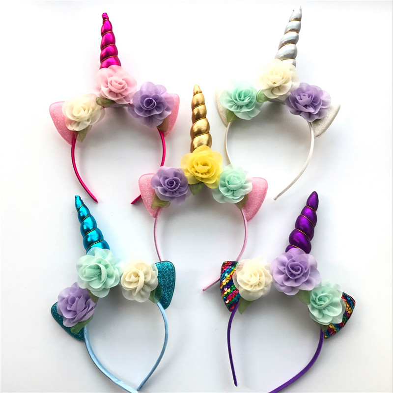 Hair Accessories Girls Chiffon Flowers Horn Unicorn Hairband Glitter Metallic Headband For Kids Leaf Flower Horn Party