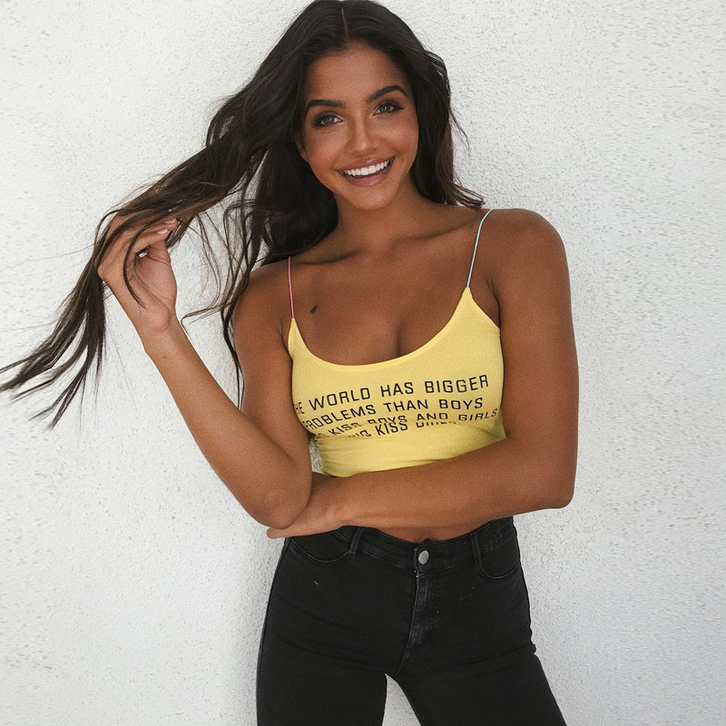 Jo Kalin 2018 Summer New Tanks Top Women Cute Letter Print Sexy Fitness Crop Top Yellow Camisole Tank Tops Sleeveless Camis