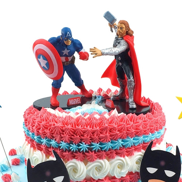 Superman Captain America Batman Iron Man Cake Toppers For Birthday Party Xmas Supplies DIY Baking Inserted Card Decoration