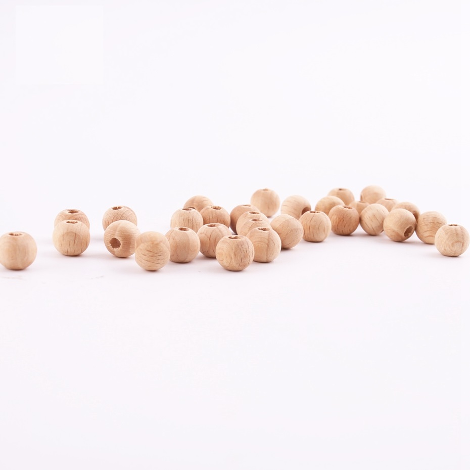 200pcs 12mm Beech Wooden Beads Baby Nursing DIY Crafts Accessories Chewing Beads Toy  Original Food Grade Wooden Making Bracelet