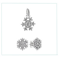 100% 925 Sterling Silver Sets With Clear Zircon Snowflake Pendant & Ear Studs DIY Jewelry Fit Silver Charm Bracelets for Women