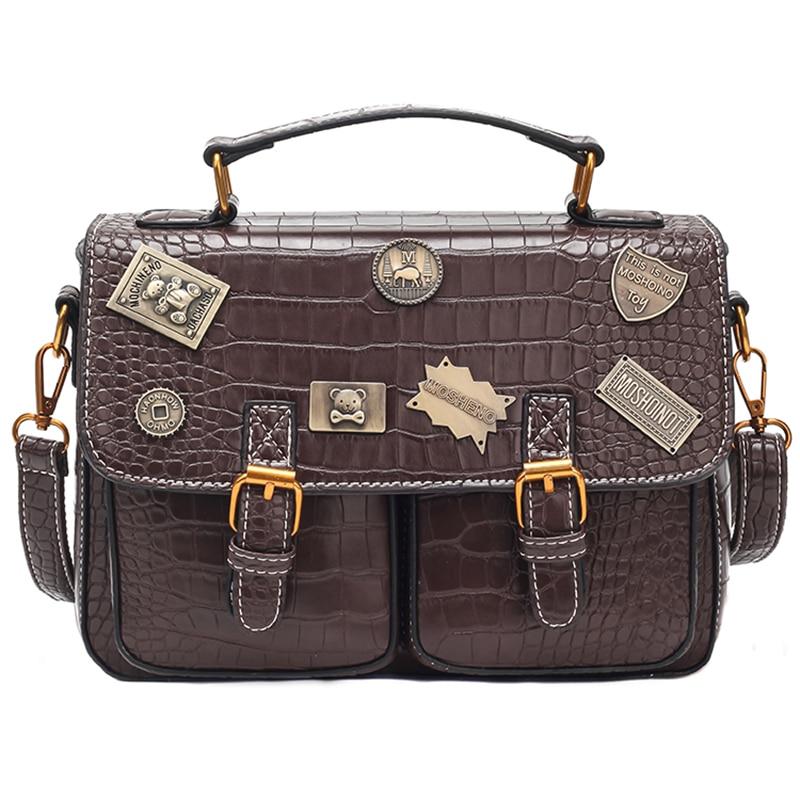 6 Christmas Gift Steampunk British Women Bags  Steam Punk Retro Handbags Lady Shoulder Bag Working Briefcase Pure Color