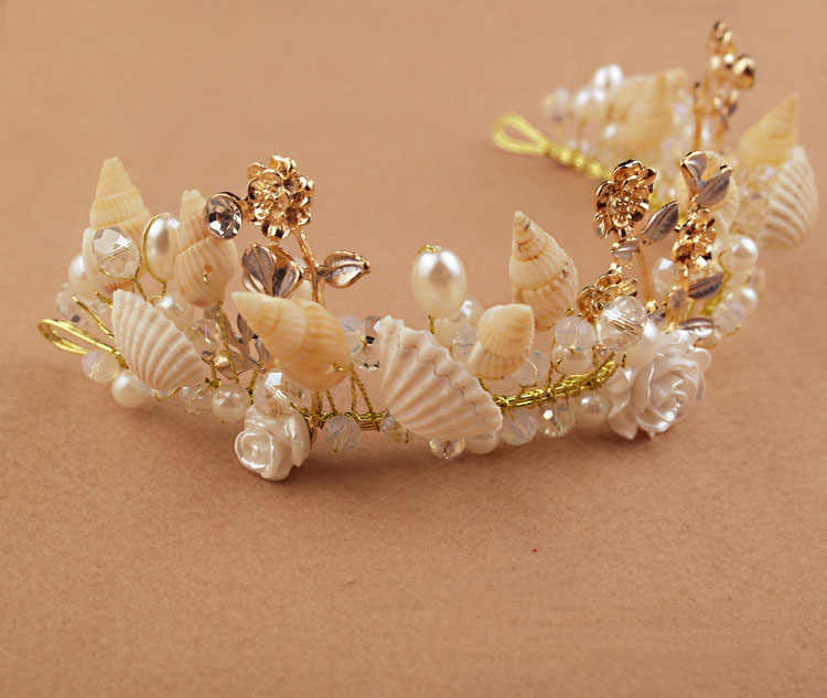 Handmade Starfish Pearl Shell Conch Alloy Crown Star Fish Headdress Studio Accessories