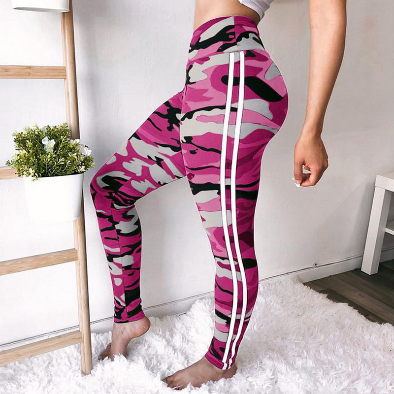 2018 Women Camo Print Skinny Yoga Pants Plus Size White Striped Camouflage Sport Trousers High Waist Running Sweatpants Push Up Easy To Lubricate