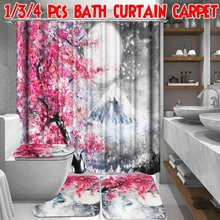 Cherry Snow Printing Waterproof Polyester Shower Curtain Bath Curtains Toilet Cover Mat Non-Slip Rug Set Bathroom Accessories(China)