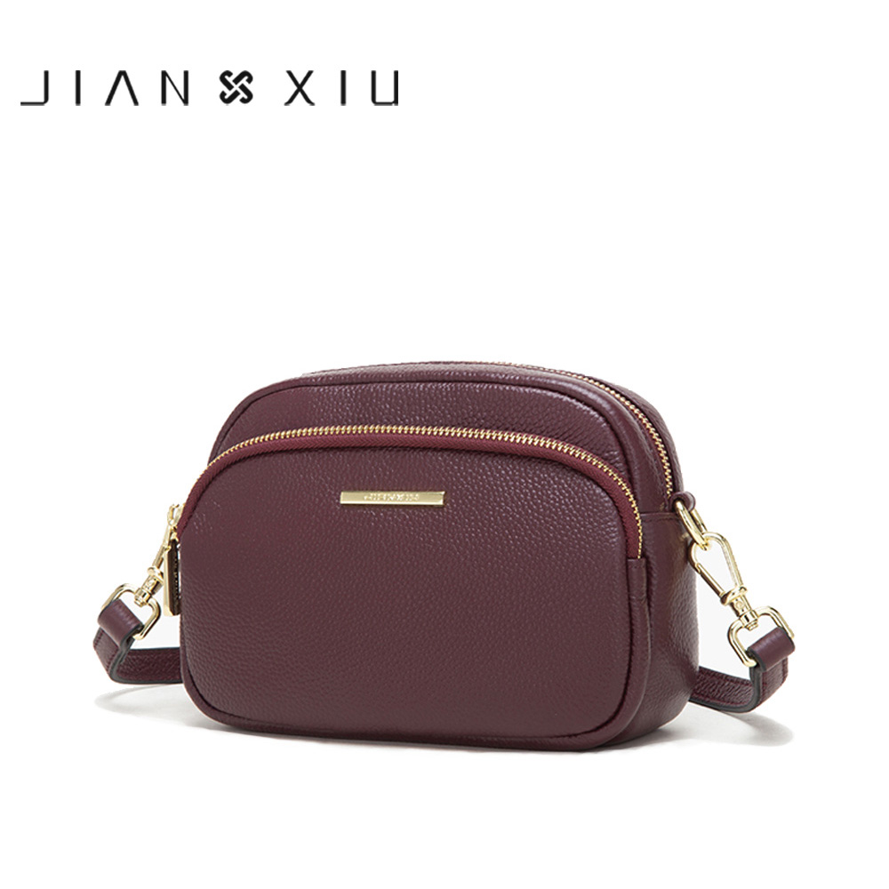 JIANXIU Brand Female Shoulder Crossbody Lychee Texture Genuine Leather Handbag 2019 New Women Messenger Small 2 Color Tote Bags