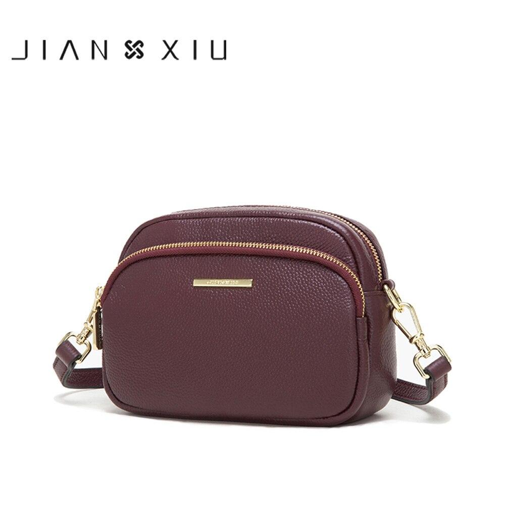 Bagaj ve Çantalar'ten Omuz Çantaları'de JIANXIU Marka Kadın Omuz Crossbody Lychee Doku Hakiki Deri Çanta 2019 Yeni Kadın Haberci Küçük 2 Renk Tote Çanta'da  Grup 1