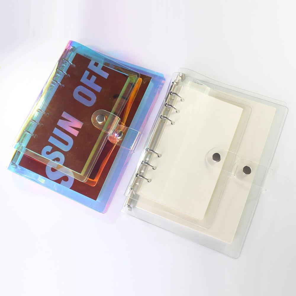 Domikee novo bonito criativo laser pvc 6 buraco binder notebooks, bonito agenda agenda planejador organizador artigos de papelaria da escola suprimentos a5a6