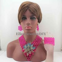 Amazing Hot Pink Beads Women Jewelry Necklace Set Indian Costume Bridal African Statement Jewellery Free Shipping W13361