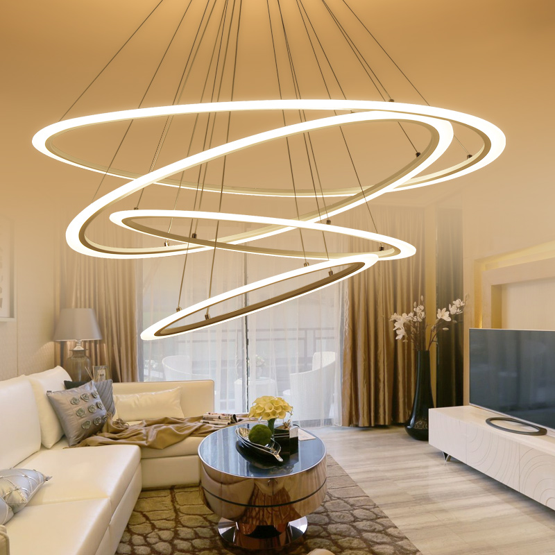 VEIHAO Modern LED hanging chandelier oval with acrylic chandelier home lighting hotel living room kitchen dining