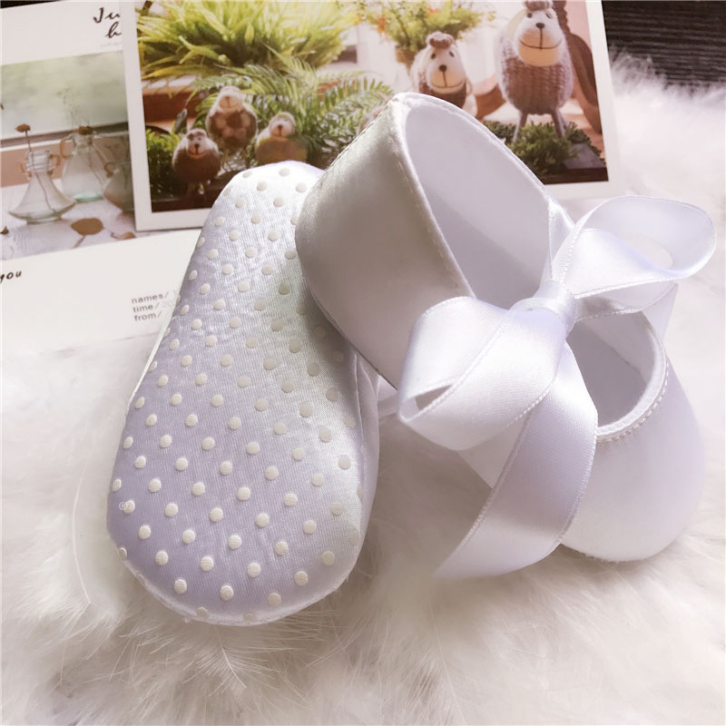 white satin and lace christening Baby girl shoes special occasion
