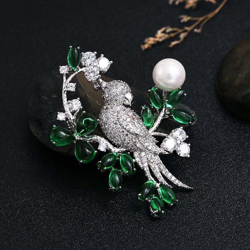 Animal Birds Branch Green Crystal CZ Pearls Large Collar Lapel Pin Brooches for Women Suits Men Pins and Brooches Jewelry X066