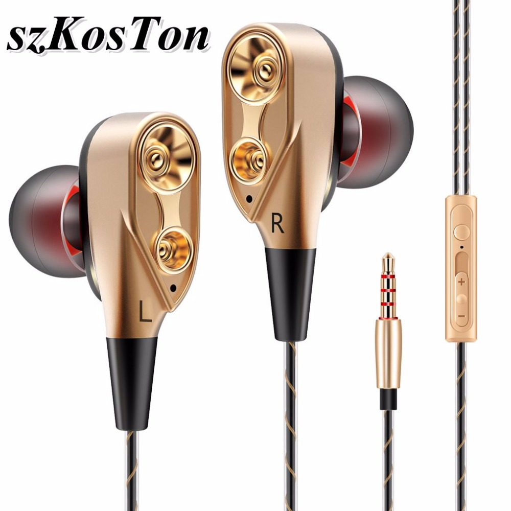Dual Drive Stereo Earbuds 3.5mm Silicone In-Ear Earphones Sport Wired Ear-hook Earphone with Microphone for Huawei Xiaomi iPhone цена 2017