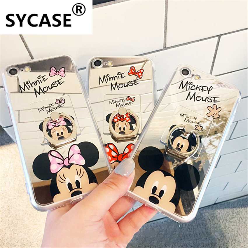 SYCASE Mirror Case New Fashion Mickey Minnie Mouse TPU Soft Mobile Phone Cases Cover for IPhone 5 5S SE 6 6S 6 7 8 Plus