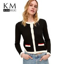Kissmilk Plus Size Popular Fashion Wild Matching Pearl Elegant  ButtonedRound Handsome Simple Collar Knit Slim Fit Jacket