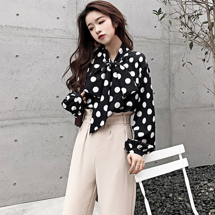 Blouses & Shirts Professional Sale Twotwinstyle Patchwork Tops Female High Waist Lace Up Lantern Long Sleeve Fake Two Piece Set Womens Shirt Blouse Korean Fashion